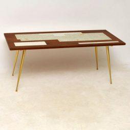 1960's Teak & Brass Tiled Top Coffee Table