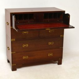 Antique Mahogany Campaign Secretaire Chest of Drawers