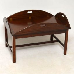 Antique Mahogany Tray Top Butlers Coffee Table