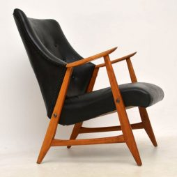 1960's Danish Vintage Leather & Teak Armchair