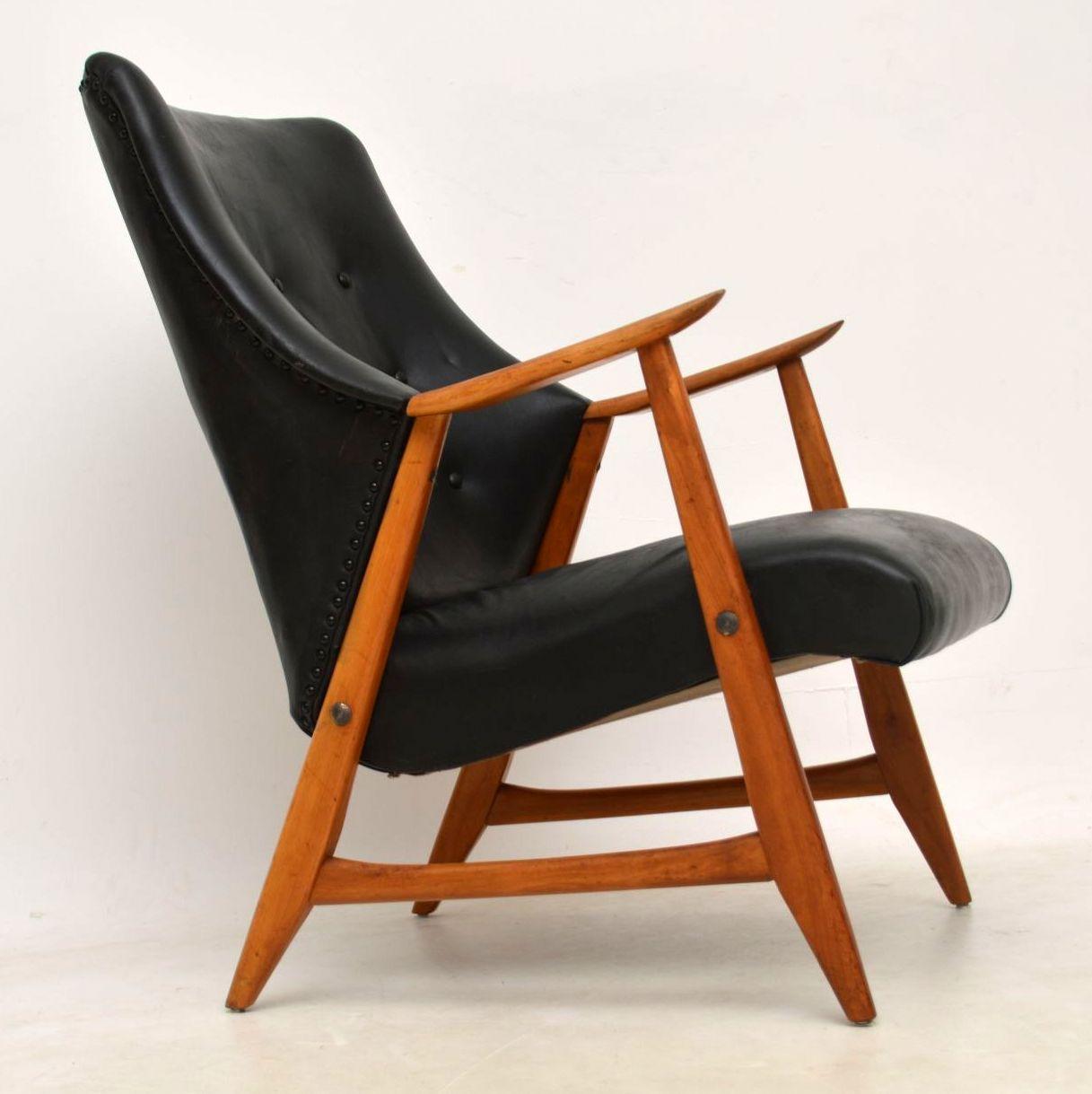 1960's Danish Vintage Leather & Teak Armchair - 1960's Danish Vintage Leather & Teak Armchair Interior Boutiques