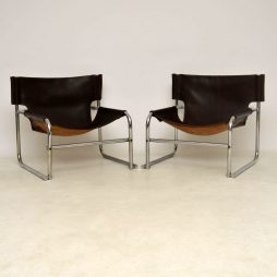 1960's Steel and Leather Pair of Armchairs – T1 by Rodney Kinsman for OMK