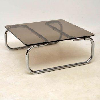 1960's Chrome & Glass Vintage Coffee Table by Rodney Kinsman