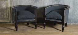 Pair of French Ebonised tub chairs