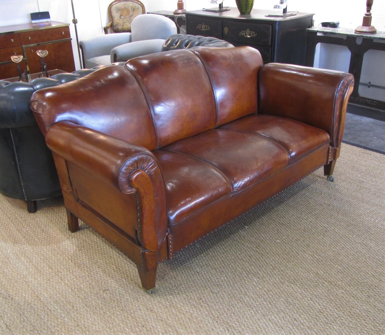 Antique Drop Arm Sofa: A Swedish Double Drop Arm Club Leather Sofa
