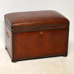 Antique Leather Bound Ottoman