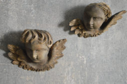 Pair of carved wood Cherubs