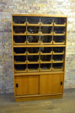 Unusual Oak Haberdashery Shirt Display Cabinet