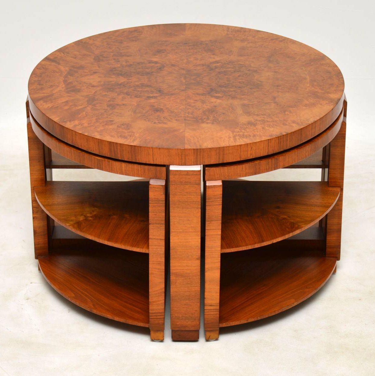 1920 S Art Deco Burr Walnut Nesting Coffee Table Interior