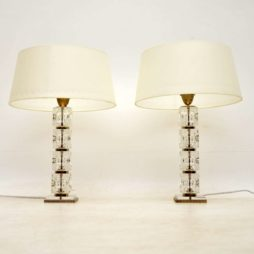 1960's Pair of Glass Vintage Table Lamps