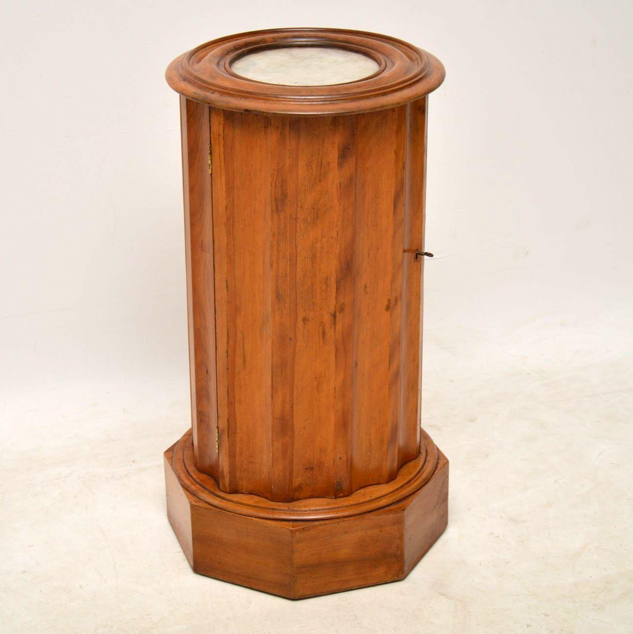 Antique Victorian Satin Wood Marble Top Pot Cupboard - Antique Victorian Satin Wood Marble Top Pot Cupboard Interior