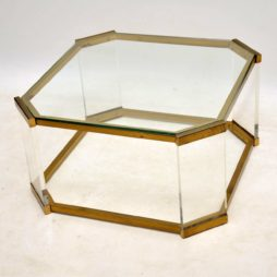 1970's Vintage Glass , Brass & Perspex Coffee Table