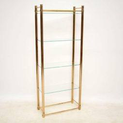 1970's Vintage Brass Bookcase Display Cabinet