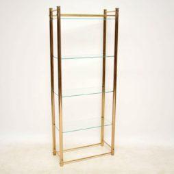 1970's Vintage Brass Bookcase Display Cabinet
