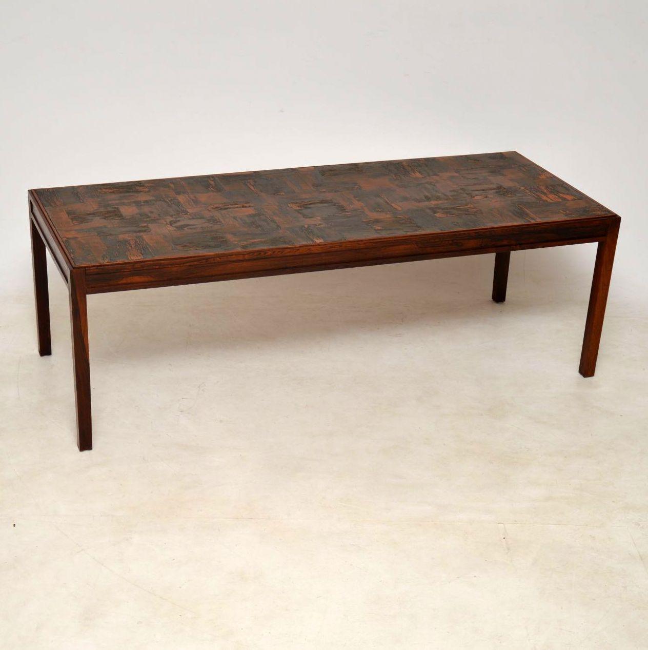 Fabulous 1960S Vintage Danish Wood Copper Coffee Table Evergreenethics Interior Chair Design Evergreenethicsorg