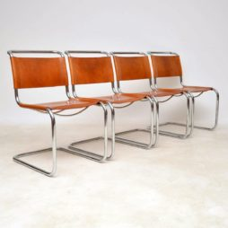 1970's Vintage Italian Leather Dining Chairs by Mart Stam for Fasem