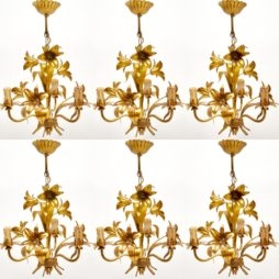 1950's Set of 6 Vintage Italian Gilt Metal Chandeliers