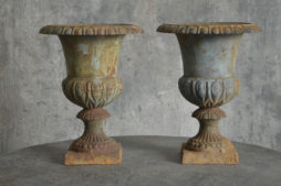 Pair of cast iron French urns