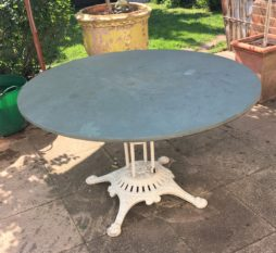 A French cast iron and slate cafe table