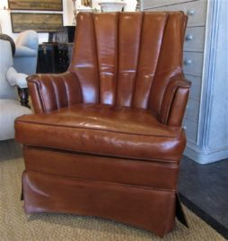 A french 50's club leather reading chair