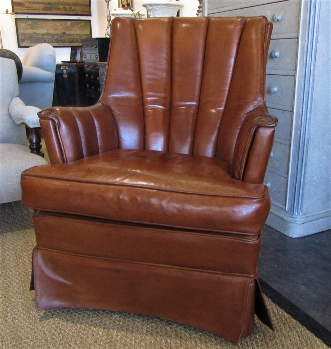 Pleasing A French 50S Club Leather Reading Chair Caraccident5 Cool Chair Designs And Ideas Caraccident5Info