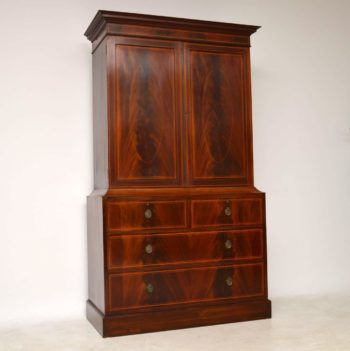 Antique Satinwood Inlaid Mahogany Linen Press