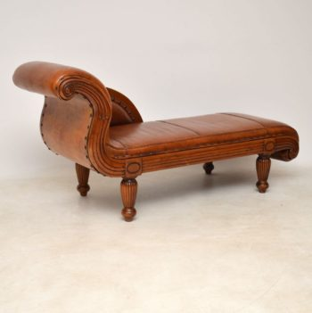 Antique Swedish Regency Leather & Walnut Chaise Lounge