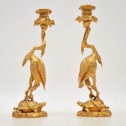Pair of Antique Gilt Bronze Candlesticks