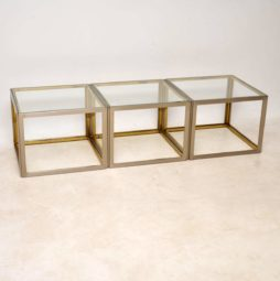 1970's Vintage Italian Set of Steel & Brass Side Tables / Coffee Table