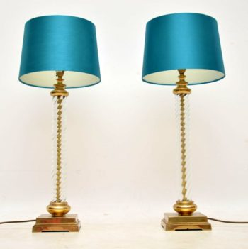 1960's Vintage Pair of Glass & Brass Table Lamps