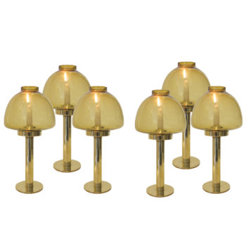 Set of 6 brass candle sticks by Hans Agnes Jakobsson