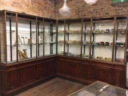 Large Bronze 1920s Corner Shop Display Cabinet