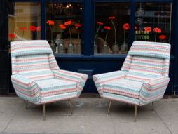 Pair of 1950's Italian Armchairs Reupholstered in Villa Nova Fabric