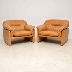 1960's Pair of De Sede DS16 Vintage Leather Armchairs
