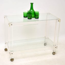 1970's Vintage Lucite & Glass Drinks Trolley