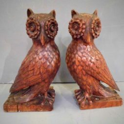 Antique Carved Owls
