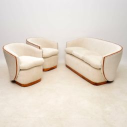 Antique Art Deco Walnut Lounge Suite – Sofa and Pair of Armchairs
