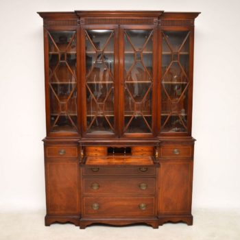 Antique Mahogany Secretaire Breakfront Bookcase