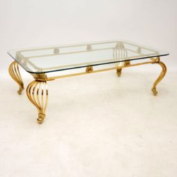 1960's Vintage French Brass Coffee Table