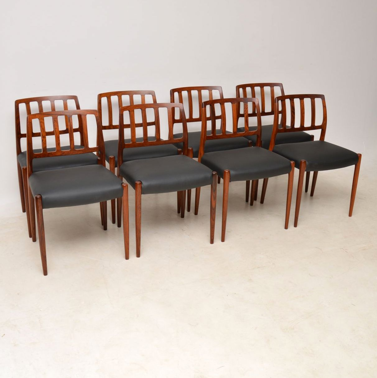 Set Of 8 1960 S Danish Rosewood Leather Dining Chairs By