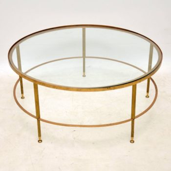 1960's French Brass & Glass Coffee Table