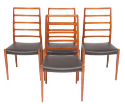 Set of 4 Neils O.Moller Model 82 Teak Ladder Back Dining Chairs