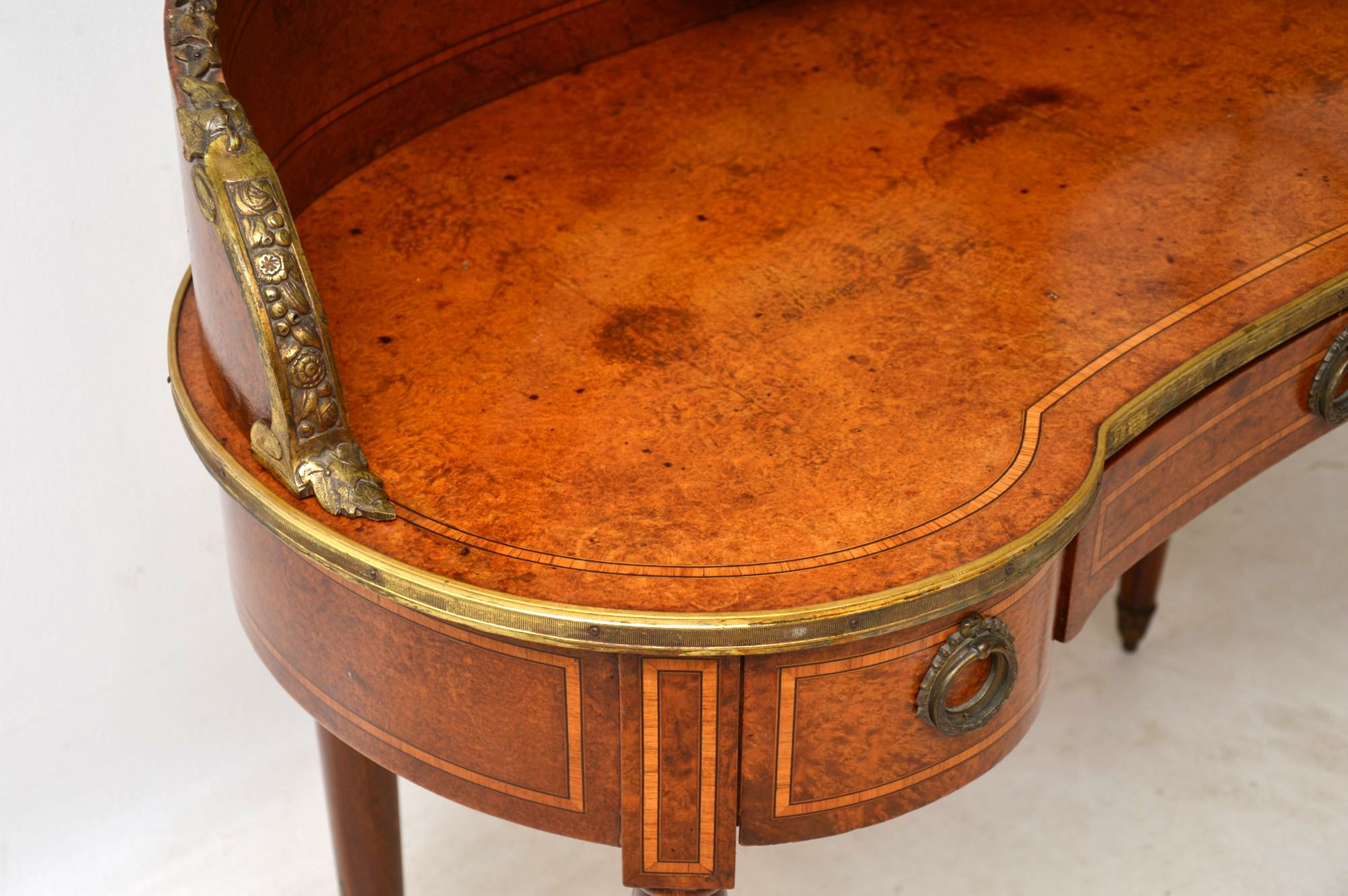 Antique French Burr Walnut Dressing Table Interior