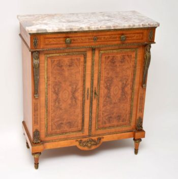 Antique French Burr Walnut Marble Top Cabinet