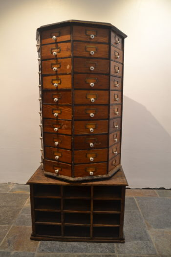 American 1920s Pine Revolving Jewellery Cabinet