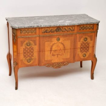 Antique Swedish Marble Top Commode With Fine Marquetry
