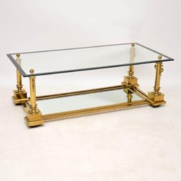 1950's Vintage French Brass Coffee Table by Maison Charles