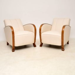Pair of Swedish Satin Birch Art Deco Armchairs