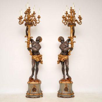 Pair of Antique Venetian Blackamoor Candelabra Sculptures (Copy)