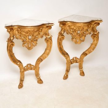 Pair of Antique French Gilt Wood & Marble Corner Tables